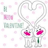 Dos gatos en amor Sea tarjeta del día de San Valentín del maullido Foto de archivo