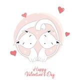 Dos gatos en el amor, el día de tarjeta del día de San Valentín feliz Imagen de archivo libre de regalías