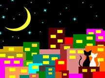 Dos gatos en el amor que se sienta en el edificio con Crescent Moon en la noche, par del amante, vector libre illustration