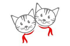 Dos gatos exhaustos de la mano linda con las bufandas rojas ilustración del vector