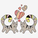 Dos gatos lindos en amor Foto de archivo