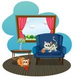 Dos gatos que juegan con las bolas del hilado dentro de la casa Fotos de archivo