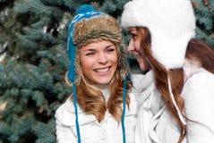 Dos gemelos alegres de las muchachas, en el parque Foto de archivo libre de regalías