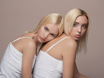 Dos gemelos hermosos jovenes de la mujer Fotos de archivo libres de regalías