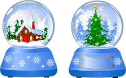 Dos globos de la nieve de la Navidad Fotografía de archivo libre de regalías