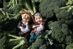 Dos granjeros se relajan en una pila de bróculi, con una oveja y un pato Fotos de archivo