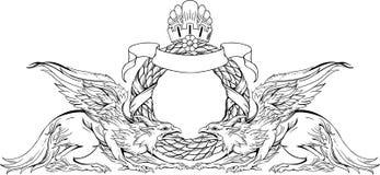 Dos grifos y muestra heráldica Rebecca 36 Imagen de archivo libre de regalías