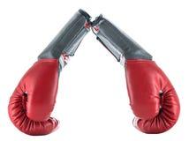 Dos guantes de boxeo aislados en el lado blanco del fondo Imágenes de archivo libres de regalías