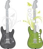 Dos guitarras de la roca aisladas en el blanco Fotos de archivo