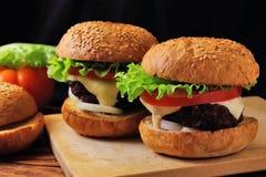 Dos hamburguesas hechas en casa Fotografía de archivo