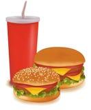 Dos hamburguesas y una bebida. Imagen de archivo libre de regalías