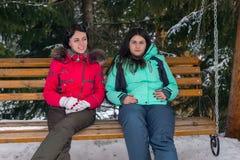 Dos hembras en trajes de esquí y con las gafas del esquí que se sientan en de madera Imagenes de archivo