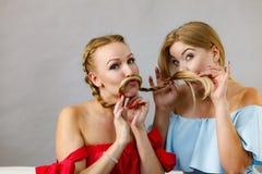 Dos hembras que juegan con el pelo imagen de archivo
