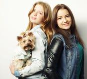Dos hermanas adolescentes con Yorkshire Terrier Foto de archivo libre de regalías