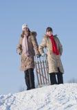 Dos hermanas felices sledding Foto de archivo libre de regalías