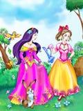Dos hermanas hermosas de las princesas del cuento de hadas Imagen de archivo