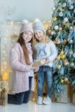 Dos hermanas impresionantes lindas de las muchachas que celebran la Navidad del Año Nuevo cerca del árbol de Navidad por completo Imágenes de archivo libres de regalías