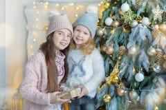 Dos hermanas impresionantes lindas de las muchachas que celebran la Navidad del Año Nuevo cerca del árbol de Navidad por completo Fotografía de archivo libre de regalías