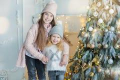 Dos hermanas impresionantes lindas de las muchachas que celebran la Navidad del Año Nuevo cerca del árbol de Navidad por completo Imagen de archivo libre de regalías