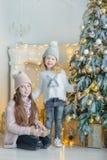 Dos hermanas impresionantes lindas de las muchachas que celebran la Navidad del Año Nuevo cerca del árbol de Navidad por completo Foto de archivo libre de regalías
