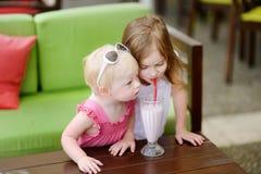 Dos hermanas que beben el batido de leche Imagen de archivo