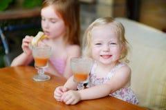 Dos hermanas que beben el jugo y que comen los pasteles Imágenes de archivo libres de regalías