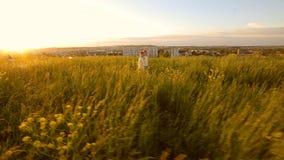 Dos hermanas que caminan en un campo durante la puesta del sol que lleva a cabo gands almacen de metraje de vídeo