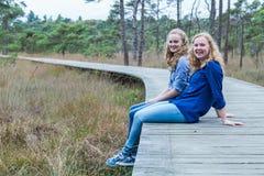 Dos hermanas que se sientan en la trayectoria de madera en bosque Foto de archivo libre de regalías