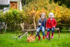 Dos hermanas que se sientan en un banco de madera el otoño Imagen de archivo libre de regalías