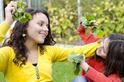 Dos hermanas que tienen alegría en parque con otoño hojean imagenes de archivo