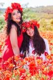 Dos hermanas son relajantes en un campo de las flores de la amapola Foto de archivo libre de regalías