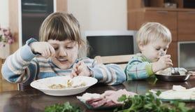 Dos hermanos que comen la comida junta Imágenes de archivo libres de regalías