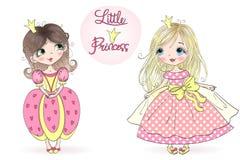 Dos hermosos dibujada mano, lindo, princesa de la niña Ilustración del vector libre illustration