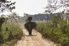 Dos hicieron excursionismo a los hombres nepaleses que sostenían los paraguas mientras que se sentaban en elefantes fotos de archivo