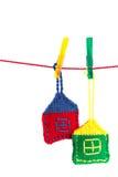 Dos hicieron punto casas coloridas Fotografía de archivo