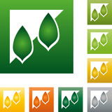 Dos hojas, árboles en logotipo del color, de la naturaleza y del jardinero Imagenes de archivo