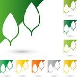 Dos hojas, árboles en logotipo del color, de la naturaleza y del jardinero Fotos de archivo libres de regalías