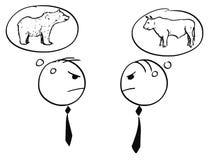 Dos hombre de negocios Arguing sobre Bull y mercado ceñudo ilustración del vector