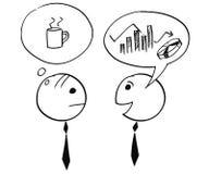 Dos hombre de negocios Talking About Charts y café Fotografía de archivo libre de regalías