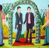 Dos hombres alegres consiguen la boda homosexual casada Foto de archivo libre de regalías
