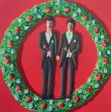 Dos hombres alegres consiguen la boda homosexual casada imágenes de archivo libres de regalías