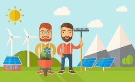 Dos hombres con la carretilla y el rastrillo ilustración del vector