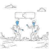 Dos hombres de negocios que recogen el negocio acertado Team Development Growth del trabajo en equipo del rompecabezas Foto de archivo
