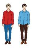 Dos hombres en una camisa y pantalones Foto de archivo libre de regalías