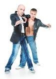Dos hombres jovenes en pantalones vaqueros Imágenes de archivo libres de regalías