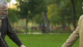 Dos hombres mayores que bailan en parque de la ciudad, relajando y divirtiéndose, recordando la juventud almacen de metraje de vídeo