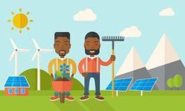 Dos hombres negros con la carretilla y el rastrillo libre illustration