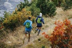 Dos hombres que corren el rastro de montaña Imagen de archivo