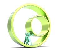 Dos hombres que empujan un anillo dentro de un anillo Fotos de archivo