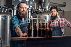 Dos hombres que presentan la cerveza del arte en el microbrewery Imagen de archivo libre de regalías